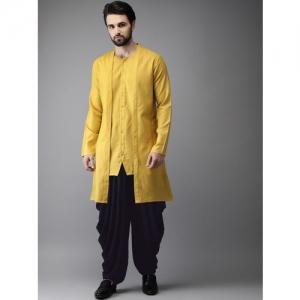 Anouk Men Yellow & Navy Solid Layered Kurta with Dhoti Pants