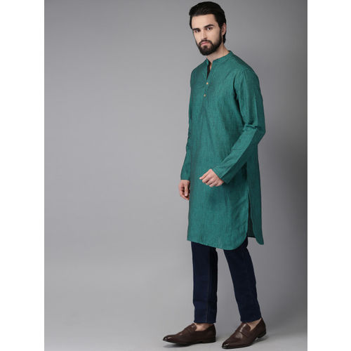 Anouk Men Teal Green Solid Straight Kurta
