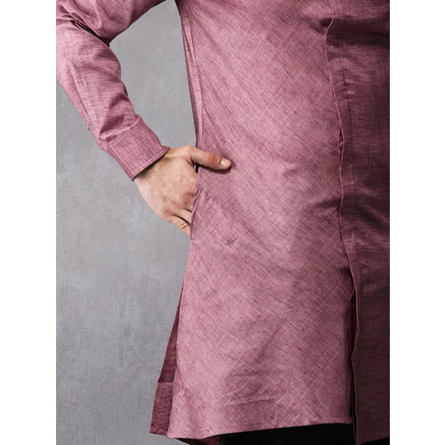 Anouk Men Pink Solid Straight Kurta