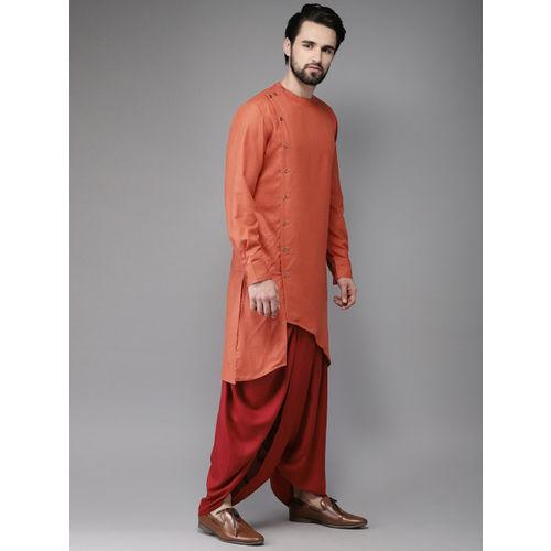 Anouk Men Orange & Red Solid Kurta with Dhoti Pants