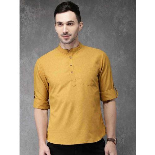 Anouk Men Mustard Yellow Solid Straight Kurta