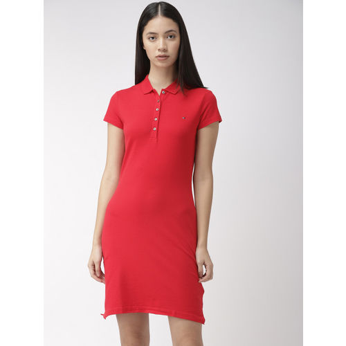 Tommy Hilfiger Women Red Solid Slim Fit Knitted T-Shirt Dress