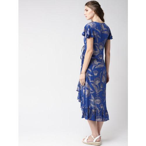 Taurus Women Blue & Silver Printed Wrap Dress