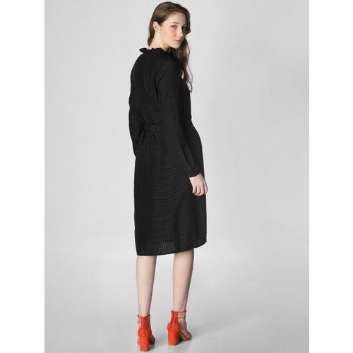 Vero Moda Women Black Self-Checked Fit and Flare Dress