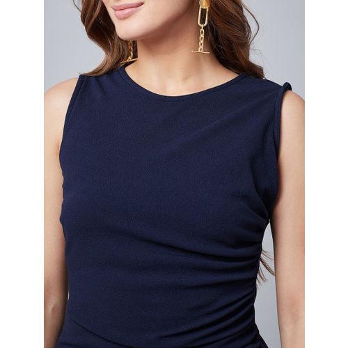 Athena Women Navy Blue Ruffled Sheath Dress