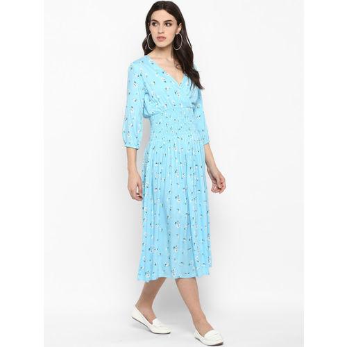 MIAMINX Women Blue Blouson Printed Dress