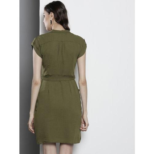 DOROTHY PERKINS Women Olive Green Solid Shirt Dress