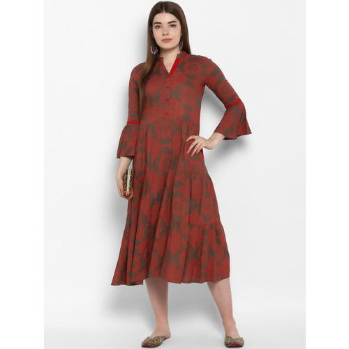 ETHNIC STREET Women Red & Grey Fit and Flare Dress