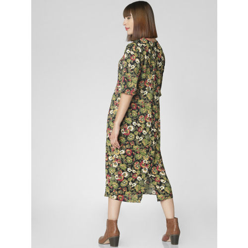 Vero Moda Women Black & Olive Green Printed A-Line Dress