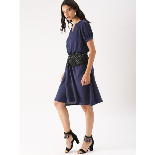 DressBerry Women Navy Blue Solid Fit and Flare Dress