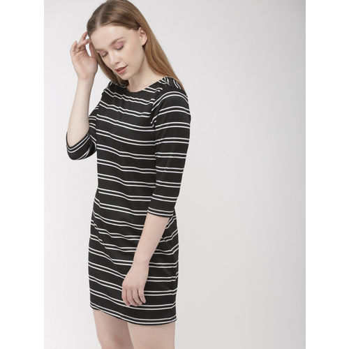 Harvard Women Black & White Striped Knitted Sheath Dress
