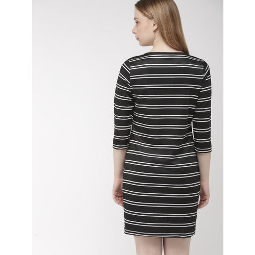 Harvard Women Black & White Striped Knitted Sheath Dress