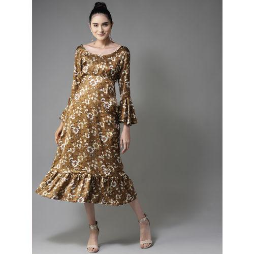 Moda Rapido Women Olive Brown & White Satin Finish Empire Dress