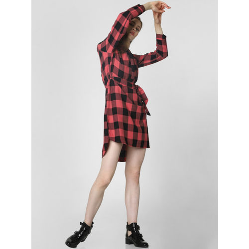 Vero Moda Women Red & Black Checked Shirt Dress