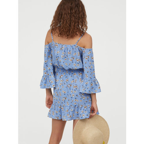 H&M Women Blue Printed Cold Shoulder Dress