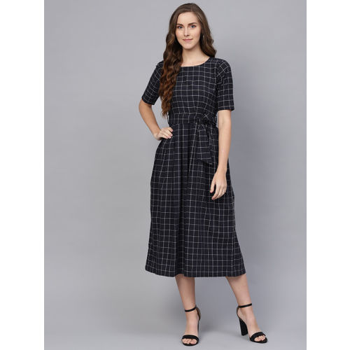 Inddus Women Navy & White Checked A-Line Dress