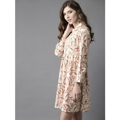 Moda Rapido Women Off-White & Maroon Printed Satin Finish Shirt Dress
