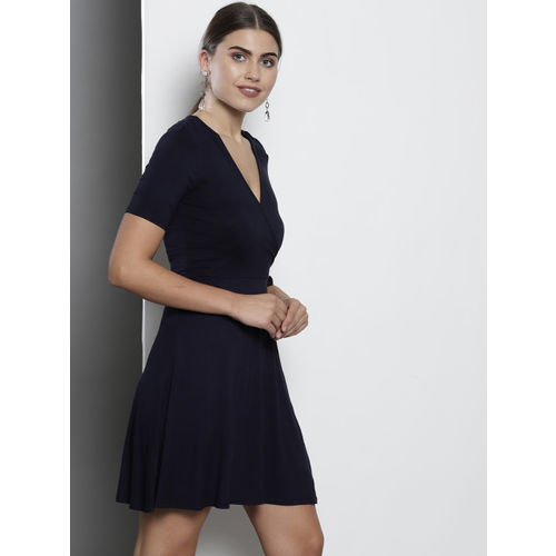 DOROTHY PERKINS Women Navy Blue Solid Wrap Dress