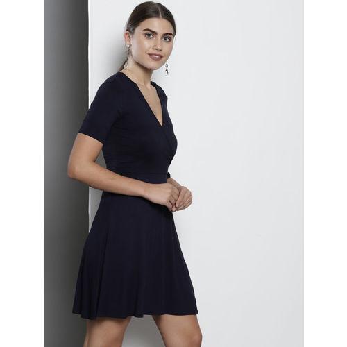 DOROTHY PERKINS Women Navy Blue Solid Wrap Dress