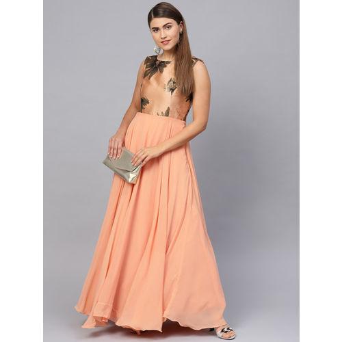 Inddus Women Peach-Coloured Printed Detail Maxi Dress