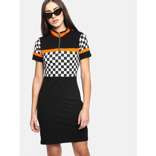 Kook N Keech Women Black & White Checked T-shirt Dress