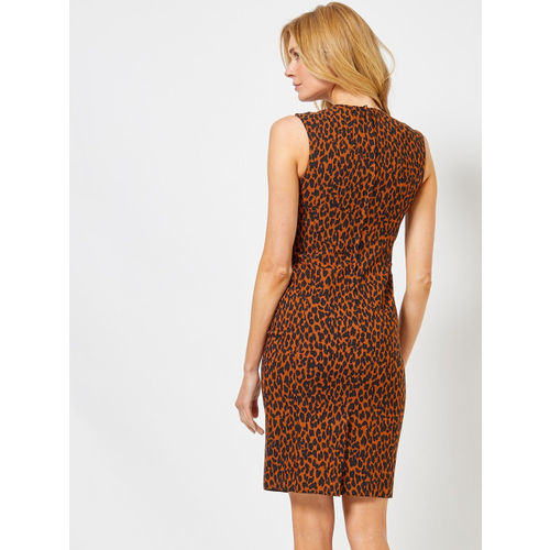 DOROTHY PERKINS Women Brown & Black Animal Printed Sheath Dress
