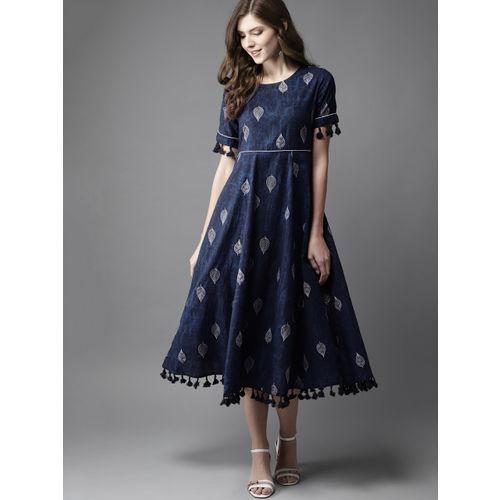 Moda Rapido Women Navy Blue  Printed Cotton A-Line Dress
