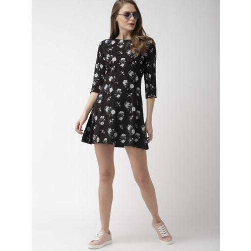Mast & Harbour Women Black & Grey Printed A-Line Dress