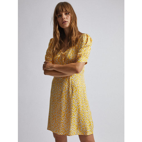 DOROTHY PERKINS Women Yellow & White Printed A-Line Dress