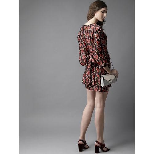 Moda Rapido Women Black & Red Printed Satin Finish Mini A-Line Dress