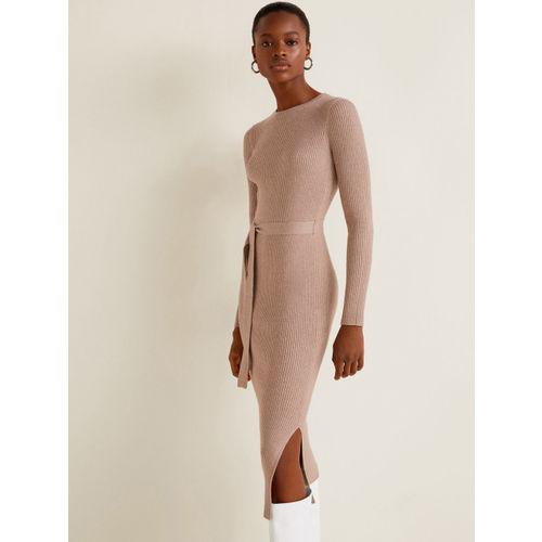 MANGO Women Beige Self-Striped Bodycon Dress