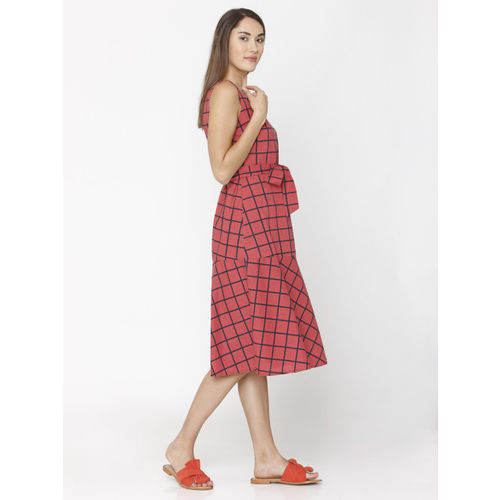 Vero Moda Women Red & Navy Blue Fit and Flare Dress