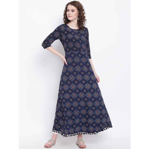 Napra Women Navy Blue Maxi Dress