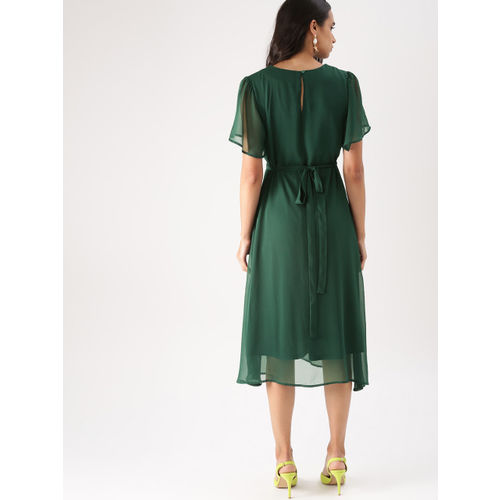DressBerry Women Green Fit and Flare Dress