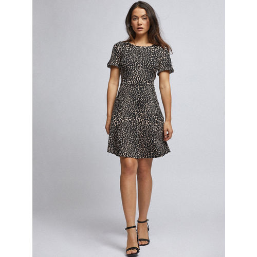 DOROTHY PERKINS Women Black & Beige Animal Print A-Line Dress