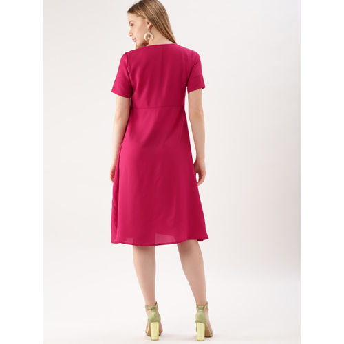 DressBerry Women Pink Solid A-Line Dress