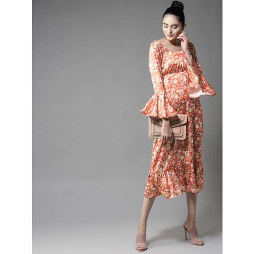 Moda Rapido Women Orange Empire Satin Finish Dress