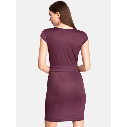 Kazo Women Purple Solid Bodycon Dress
