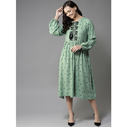 HERE&NOW Women Green & Black Printed A-Line Dress