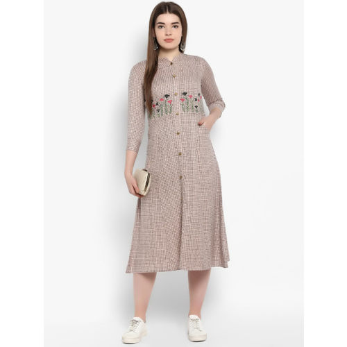 ETHNIC STREET Women Off-White & Brown Fit and Flare Dress