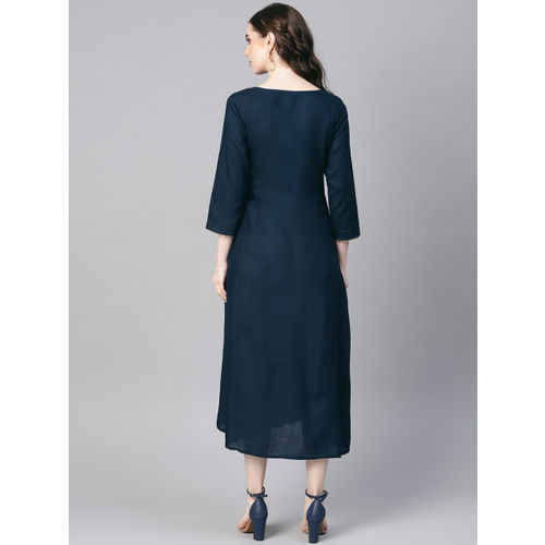 Yufta Women Navy Blue Solid A-Line Dress