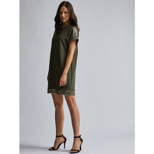 DOROTHY PERKINS Women Olive Green Solid Shift Dress