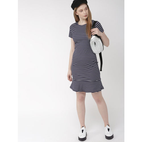 Harvard Women Navy Blue & White Striped Knitted T-shirt Dress