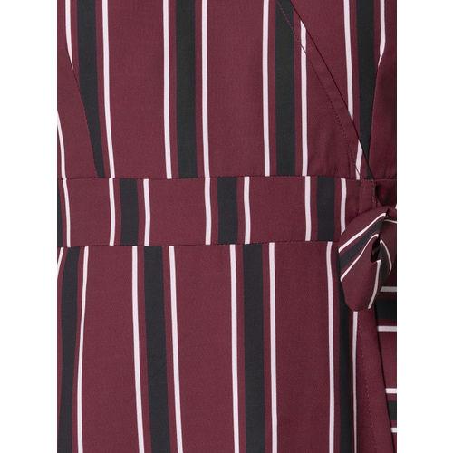 FabAlley Women Maroon & Black Striped Wrap Dress