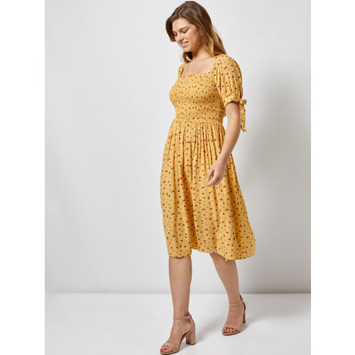 DOROTHY PERKINS Women Yellow & Red Printed A-Line Dress