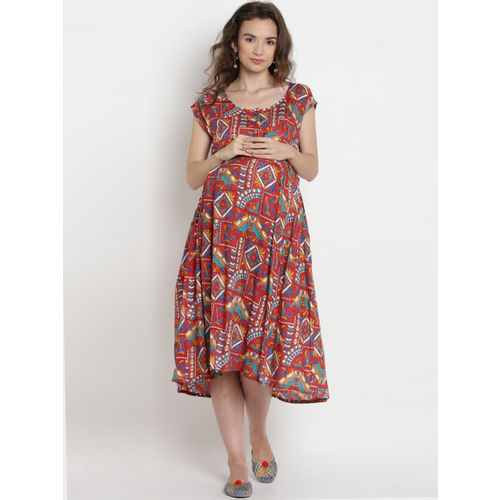Mine4Nine Women Red & Blue Printed Maternity A-Line Dress