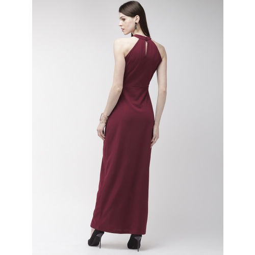 20Dresses Women Maroon Solid Maxi Dress