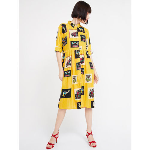 Colour Me by Melange Women Mustard Yellow Shirt Dress