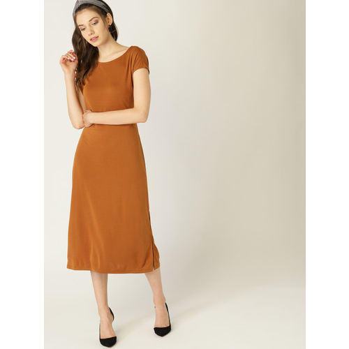 ESPRIT Women Mustard Brown Solid A-Line Dress