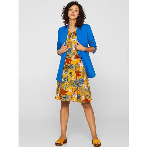 ESPRIT Women Mustard Yellow & Blue Printed Fit & Flare Dress